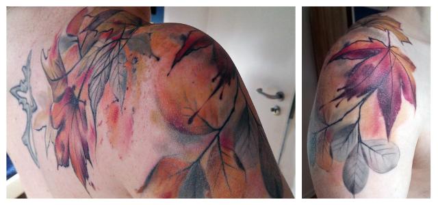 tattoo herbst laub blätter